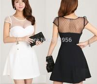 NEW 2014 Summer Dress Fashion Women Clothing Pure Cotton Splicing Sexy Dress Women Dress  Women Dresses Free Shipping