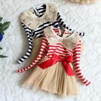 wholesale autumn children girls dresses  / xmas dress , stripe kids girl princess bow lace dresses .