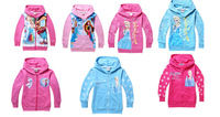 New Arrival Frozen Outerwear Elsa Hoodies Anna Zipper Hoodie girls Long Sleeve Hoodies Kids Sweatshirts