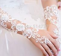 Fashionable Elegant The Bride Wedding Dress Gloves Luxury Diamond Cutout Lace Ivory Gloves Fingerless Gloves Wedding Accessories