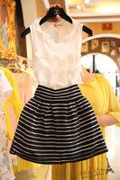 Free shipping 2014 summer new clothing set women,skirt suit,women sleeveless white ruffles blouse and stripped organza skirt