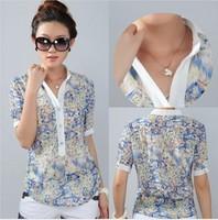 Ladies blouses femininas fashion chiffon shirt body tops floral print big size 3XL 4XL short sleeve stand collar CS9085
