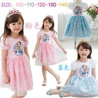 2014 new lace snow short sleeve Children's dress frozen dress cartoon Elsa tutu pink blue girls frozen dress princess dress