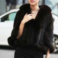 BG11621-1 Several Colors Genuine Kintting Mink Fur Shawl With Fox Trimming Winter Women Wraps Shawl Dress