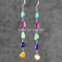 Earrings female colorful tassel long design shell drop earring asymmetrical earrings jewelry
