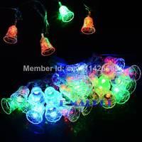 5M 28 LED Small Bell Holiday Lights String Fairy Light Christmas Xmas Party Wedding Decoration Lamp 100-240V US Plug TK1338