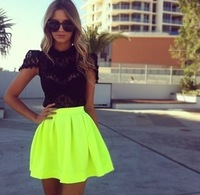 Lacegirl's  women new 2014 fashion saia neon Fluorescent green Casual Solid high waist skirt  female  s m l xl xxl