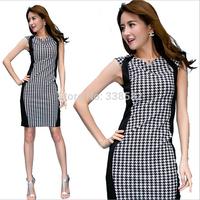 New Arrival 2014 Bodycon Dresses houndstooth Color Block Elegant Slim O-neck Sleeveless Pencil dress Casual Dress Plus SizeS-XXL