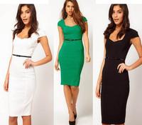 New Fashion 2014 Summer Elegant Women Celeb Square Collar Cap Sleeve Stretch Slim Stretch Knee-Length Bodycon Pencil Dresses