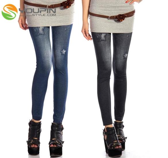 2 Color Punk Womens Faux Denim Skinny Jeans Leggings Pants EP98(China (Mainland))