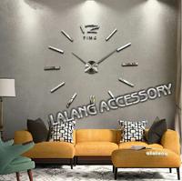 1PCS Big mirror wall clock watch wall sticker modern design,large decorative designer wall clocks.Home decorations fk671287
