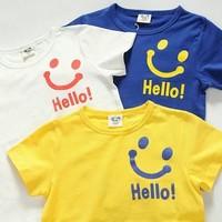 2014 summer new arrival fashion wholesale 5pcs/lot 100% Cotton cartoon hello smile top tee children kids girls boy t shirts