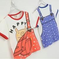 2014 summer new arrival fashion wholesale 5pcs/lot 100% Cotton brace pig cartoon top tee children kids girls boy t shirts