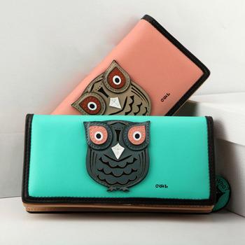 Новый бросились 2014 женщин бумажники 6 цветов долго прекрасный сова дизайнер искусственная кожа сцепления кошельки монеты телефон держателя карты бесплатную доставку