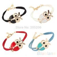 2014 New Women's Retro Animal Owl Decoration Leather Charm Bracelet for Christmas New Year Gift