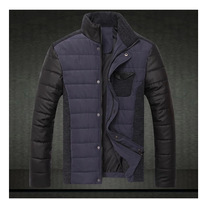 2014 new Korean version of men's winter fashion thick padded stand collar jacket/winter jacket men size:M-XXXL Free Shipping