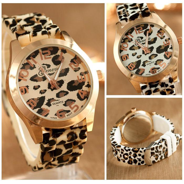 Fantastic ! New arrivels Fashion Unisex Leopard Silicone Jelly Gel Quartz Analog Wrist Watch Freeshipping Feida(China (Mainland))
