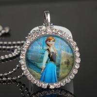 10 strand Frozen Ball Chain Necklace Frozen Princess Beauty Anna Pendant Flatback Clear Rhinestone Cabochon for Girl Kids Child