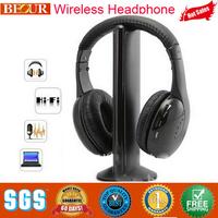 2014 real headphones hifi headphone multifunction 5 in 1 wireless earphone headset monitor fm radio mp3 pc tv for audio phones