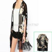 Hot Fashion  Long Chiffon blouse open black kimono cardigans for Women Flower Prints Shirts Loose fringe blouse bz655514