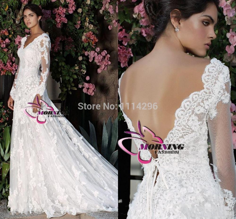 V-neck Vintage Lace Wedding Dresses 2014 Court Train V-back Long Sleeves Applique Hand-made Flower Formal Church Bridal Gowns(China (Mainland))