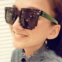 2014 5107 new adult photochromic black acetate poly styrene super cute special section mosaic sunglasses korean retro block