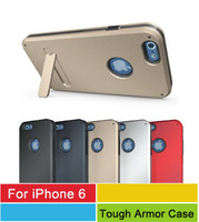2014 New 3in1 TPU PC Tough Armor Phone Case Skin For Apple iPhone 6 With Kick Stand 5 Colors 100pcs/lot