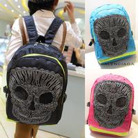 New 2014 Fashion Women Skull Pattern Embroidery Female Nylon Backpack CrossBones Black&Blue*Pink 3Colors Freeshipping