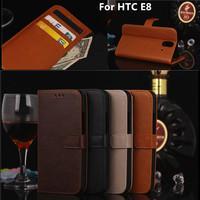 For HTC E8 wallet case Crazy Horse PU Flip cover E 8 mobile phone CASE Stand  Classic  horse leather htc e8  Case+Stylus pen