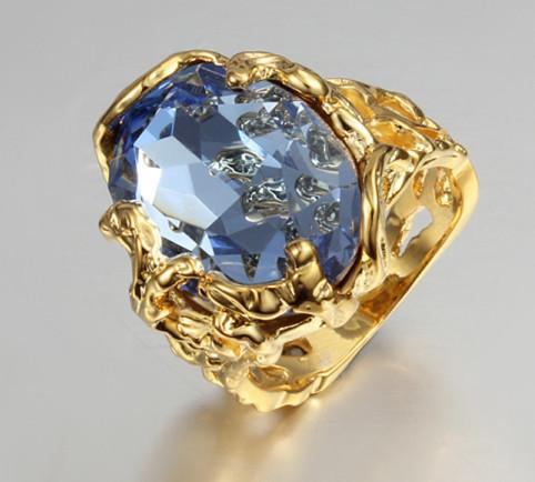 Unisex ring sea blue zircon 18K gold plated the mysterious magic ring symbol of Pharaoh 1806(China (Mainland))