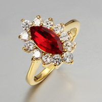 A big main stone and 12 small stone arounded elegant ring Sapphire and ruby option zircon 18K gold plated 1808