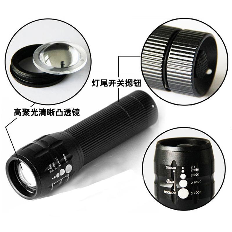 Mini aluminum telescopic led flashlight rechargeable flashlight wholesale creeq5 riding torch light(China (Mainland))