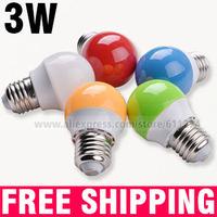 E27 3W LED Bulb Shell Color Red Green Blue Orange White LED Light Bulb Energy-Saving lamps 220V-240V