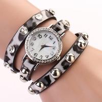 Koshi  2014 NEW FASHION stylish watch leather bracelet shell rivet quartz wrist punk wristwatch,free shipping