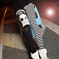 New Fashion 2014 casual black white strip thin nine leggings for women