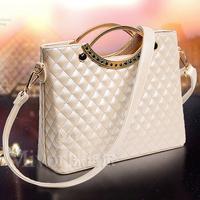 New 2014 Bags Handbags Women Famous Brands Fashion Embroidery Rhombus Plaid Vintage Handle Shoulder Bag Women Purse Freeshipping