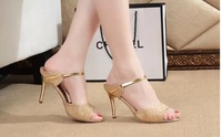 2014 summer women fashion Metal sequins high thin heels leather Pumps free shipping hot sale