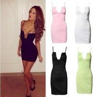 Free Shipping Fashion 2014 Fashion Deep V-neck Sleeveless Mini Dress Sexy Bodycon Women Bandage Dress