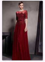 2014 new fashion,Noble elegant, wine red, transparent gauze,Boat neck,cap sleeve slim floor-length evening dress 30521