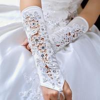 $ Hotsell 2014 Wedding Gloves Satin beige 32cm Fashion Wedding Bridal Gloves Bride Dress Glove long bridal gloves g131