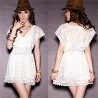 2014 summer elegant Party Club Women casual Dresses White Deep V Neck Vestido Mini Lace Dress Short Sleeve beach Dress #PJ13