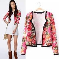 2014 New arrivals Ladies' Vintage floral print short jacket coat long sleeve outwear non-button casual slim brand designer tops