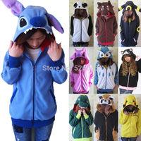 Panda Stitch Pikachu dinosaur Animal Hoodie Japan Ears Face Tail Zip Hoody Sweatshirt Costume Cosplay Hoodies S M L XL
