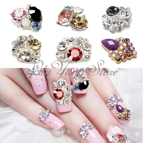 10Pcs Shiny Metallic Rhinestones glitter Crystal Phone 3D Nail Art Tips Decorations DIY nail art supplies(China (Mainland))