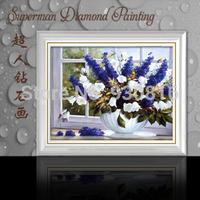 New 2014 Needlework DIY Diamond Painting Cross Stitch Sewing Knitting Needles Diamond Embroidery  Vase Flower fifteen