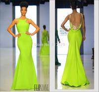 END2021 Fashion Mermaid 2014 Jewel Neck Satin Sequined Boob Tube Tarik Ediz Evening Dress