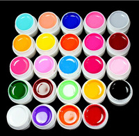 Free shipping  24 Color Solid Pure UV Builder Gel Set Nail Art False Full French Tips Salon Set