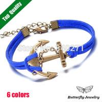 2014 Vintage Bronze Anchor Bracelet Bangle Charm Leather Bracelet For Women Wholesale($2 Off Per $12)