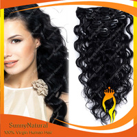 120g/160g Clip in Hair Extensions Virgin Brazilian Human Hair Clips on Jet Black Color#1 Wavy