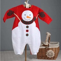 Retail baby xmas rompers. fashion cute snowman pattern infant clothing. long sleeve  baby boys & girls jumpsuits